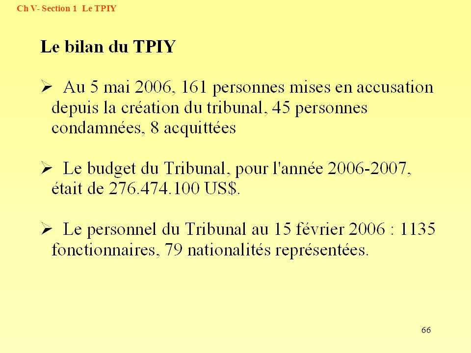 66 Ch V- Section 1 Le TPIY
