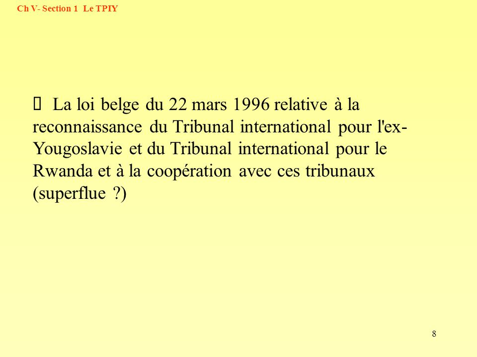59 Ch V- Section 1 Le TPIY