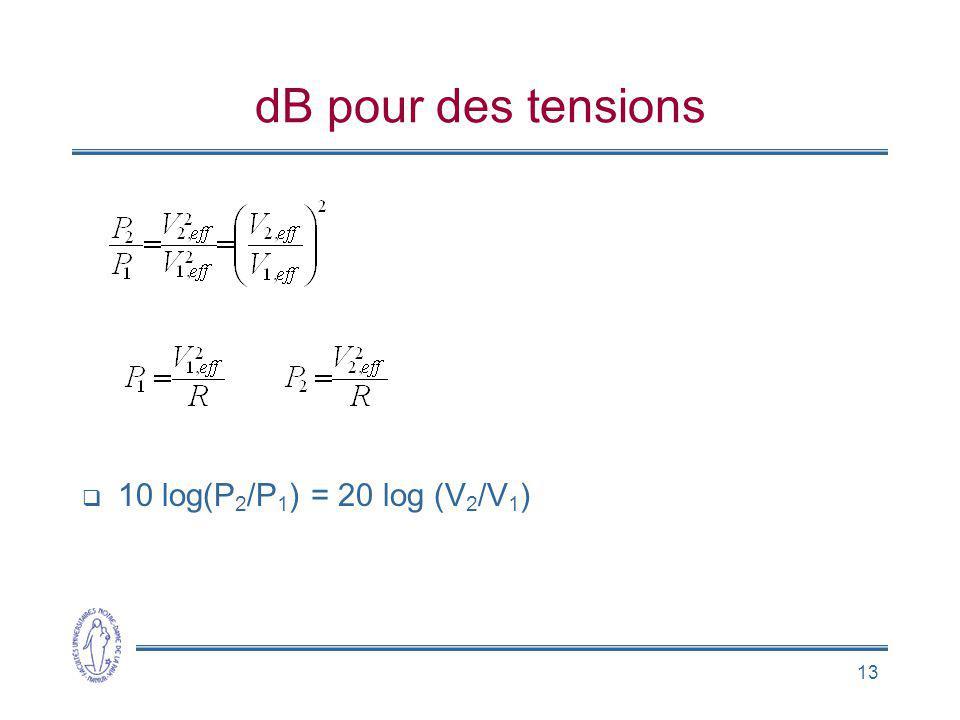 13 dB pour des tensions 10 log(P 2 /P 1 ) = 20 log (V 2 /V 1 )