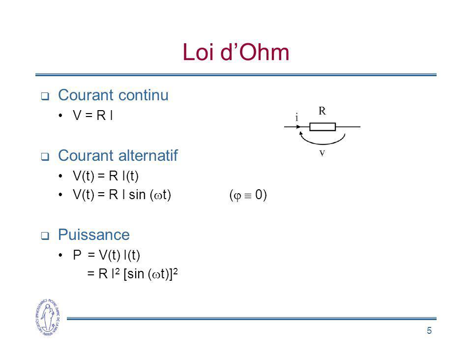 5 Loi dOhm Courant continu V = R I Courant alternatif V(t) = R I(t) V(t) = R I sin ( t) ( 0) Puissance P = V(t) I(t) = R I 2 [sin ( t)] 2