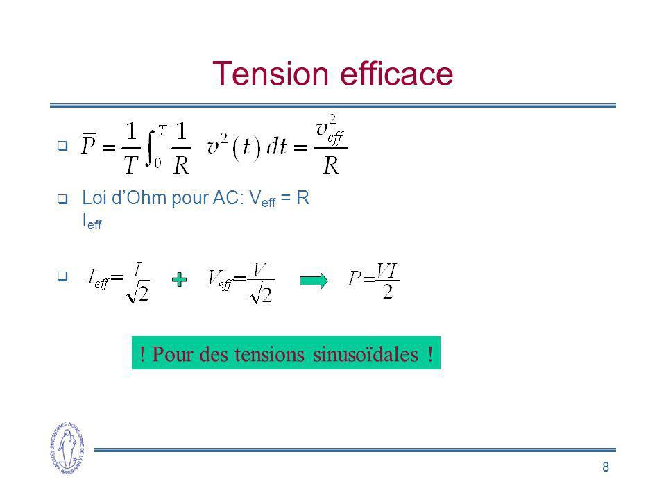 8 Tension efficace Loi dOhm pour AC: V eff = R I eff ! Pour des tensions sinusoïdales !