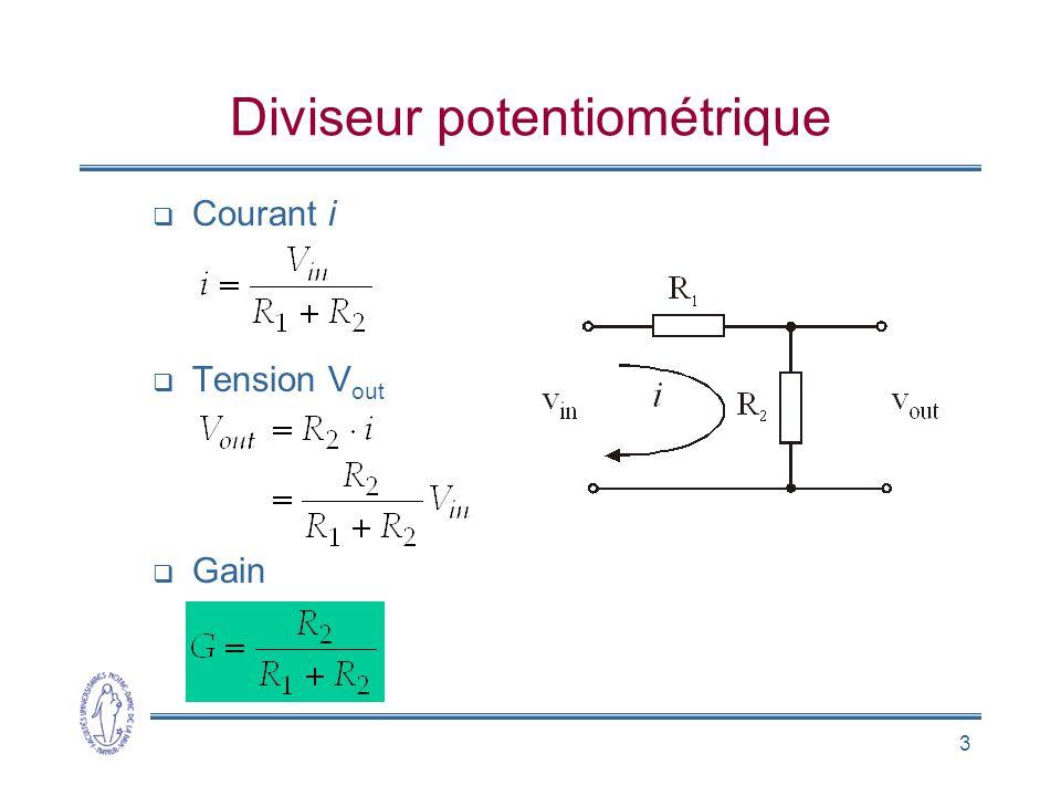 3 Diviseur potentiométrique Courant i Tension V out Gain
