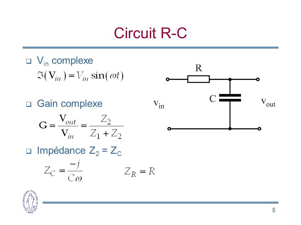 5 Circuit R-C V in complexe Gain complexe Impédance Z 2 = Z C