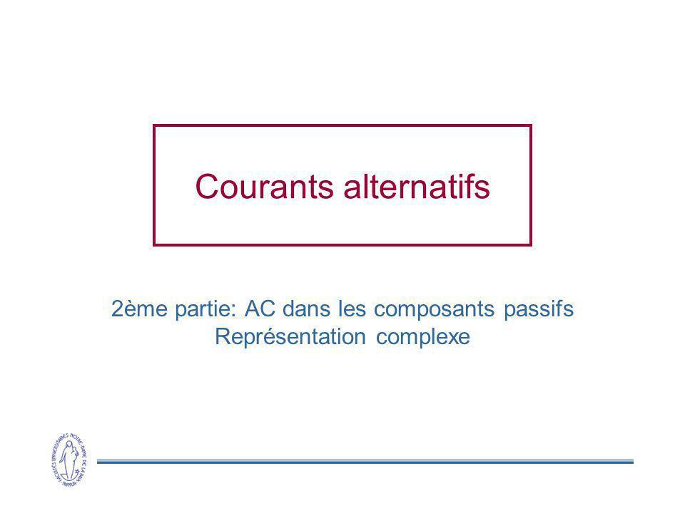 Courants alternatifs 2ème partie: AC dans les composants passifs Représentation complexe