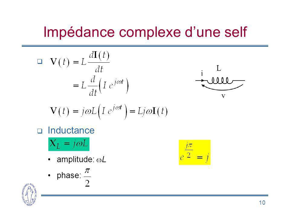 10 Impédance complexe dune self Inductance amplitude: L phase:
