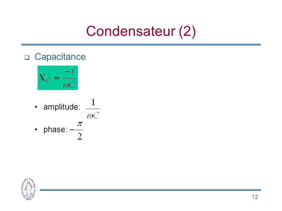 12 Condensateur (2) Capacitance amplitude: phase: