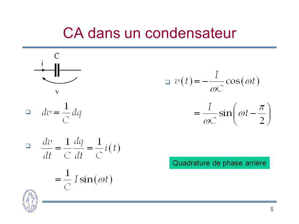 5 CA dans un condensateur Quadrature de phase arrière