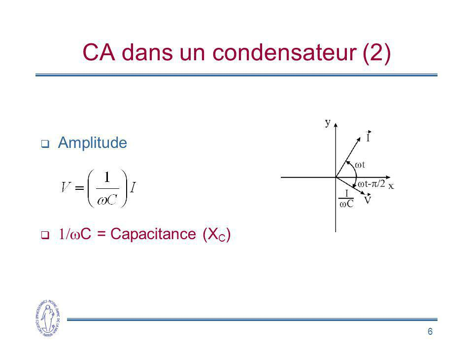6 CA dans un condensateur (2) Amplitude C = Capacitance (X C )