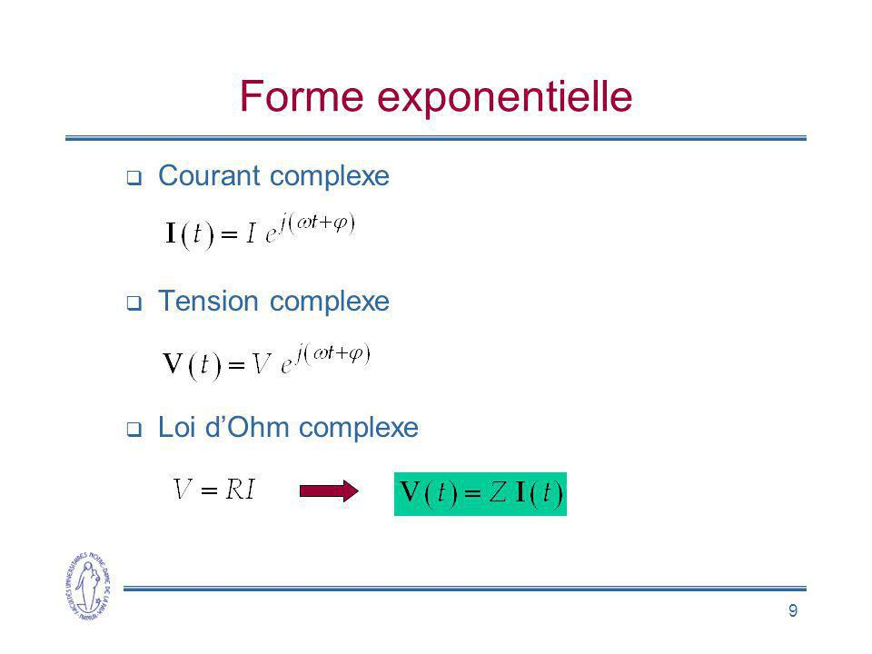 9 Forme exponentielle Courant complexe Tension complexe Loi dOhm complexe
