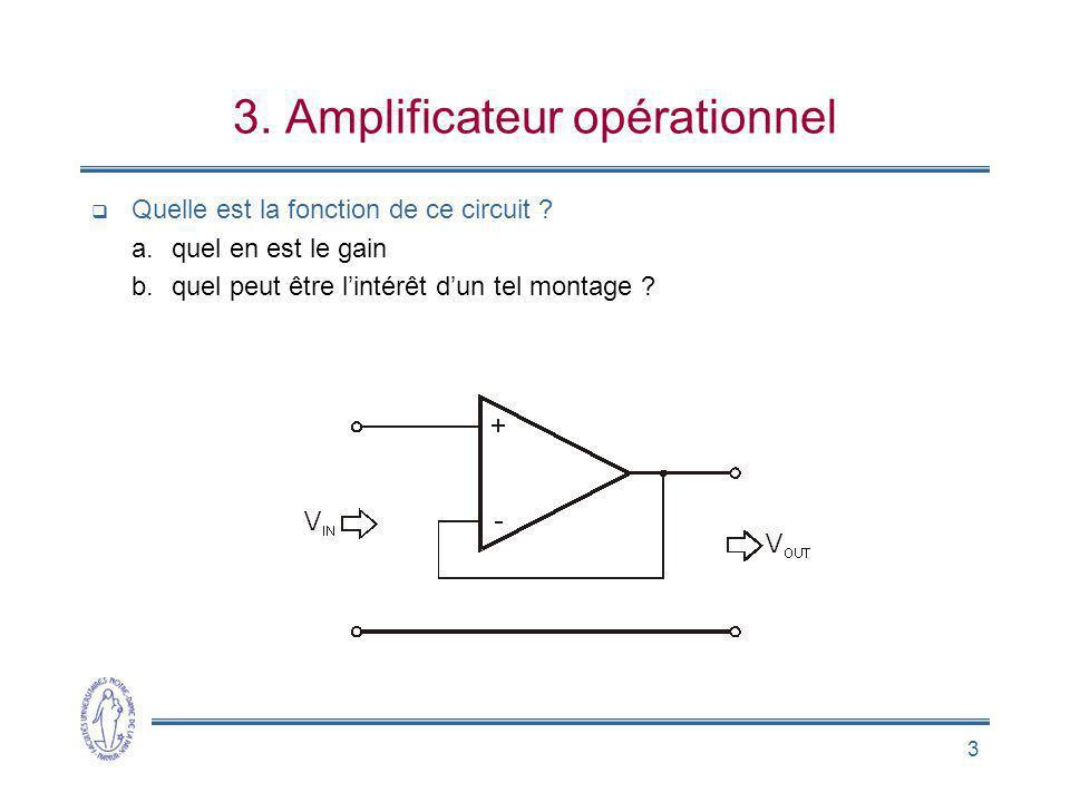 3 3. Amplificateur opérationnel Quelle est la fonction de ce circuit ? a.quel en est le gain b.quel peut être lintérêt dun tel montage ?