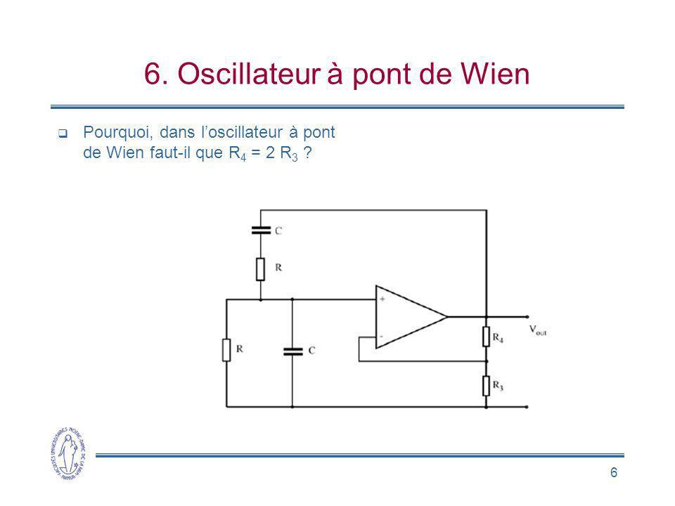6 6. Oscillateur à pont de Wien Pourquoi, dans loscillateur à pont de Wien faut-il que R 4 = 2 R 3 ?