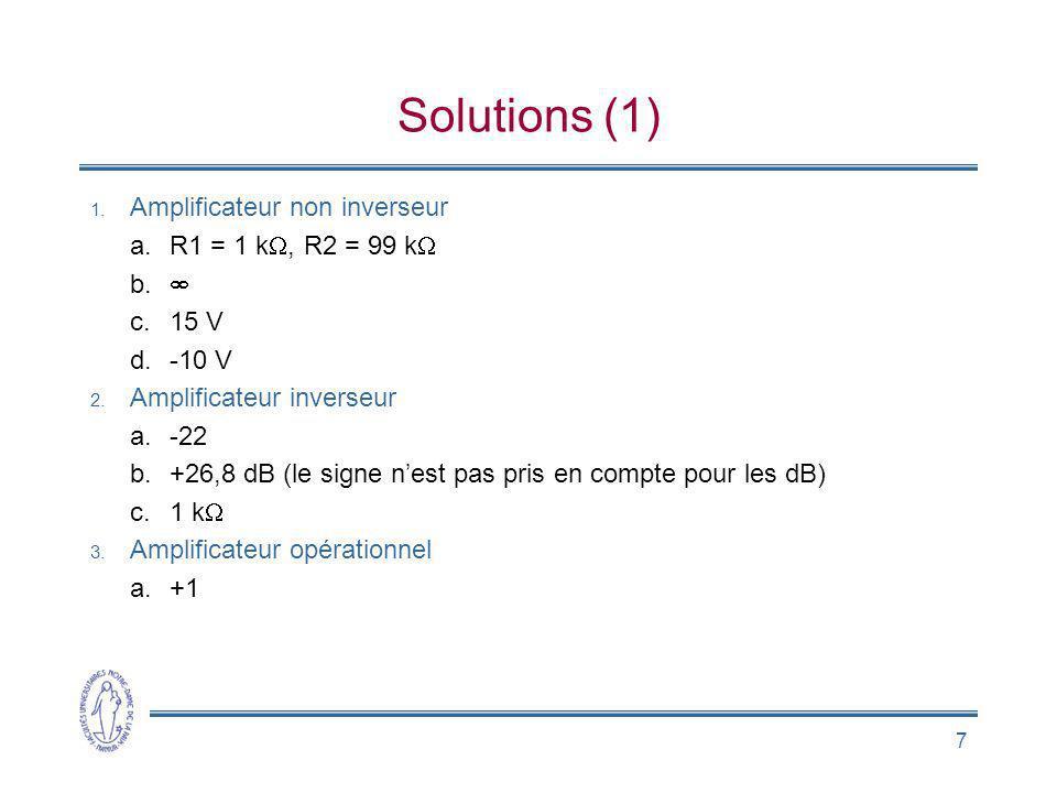7 Solutions (1) 1. Amplificateur non inverseur a.R1 = 1 k, R2 = 99 k b. c.15 V d.-10 V 2. Amplificateur inverseur a.-22 b.+26,8 dB (le signe nest pas