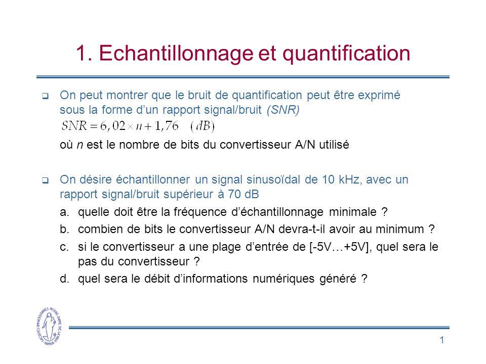 1 1. Echantillonnage et quantification On peut montrer que le bruit de quantification peut être exprimé sous la forme dun rapport signal/bruit (SNR) o