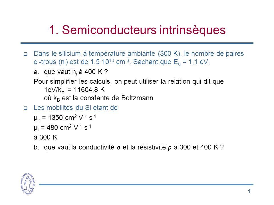 1 1. Semiconducteurs intrinsèques Dans le silicium à température ambiante (300 K), le nombre de paires e - -trous (n i ) est de 1,5 10 10 cm -3. Sacha