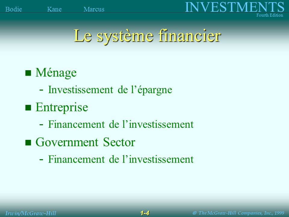 The McGraw-Hill Companies, Inc., 1999 INVESTMENTS Fourth Edition Bodie Kane Marcus Irwin/McGraw-Hill Le système financier Ménage - Investissement de lépargne Entreprise - Financement de linvestissement Government Sector - Financement de linvestissement 1-4