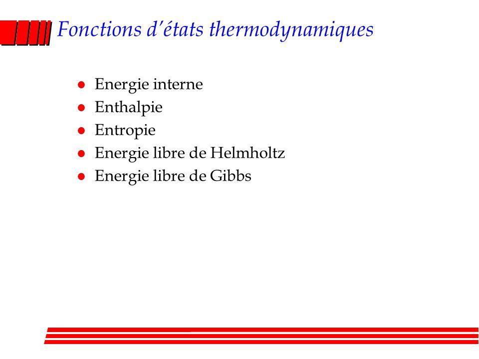 Fonctions détats thermodynamiques l Energie interne l Enthalpie l Entropie l Energie libre de Helmholtz l Energie libre de Gibbs