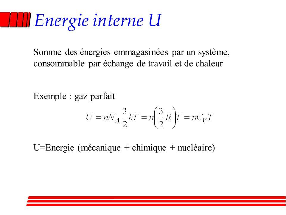 Energie interne U Somme des énergies emmagasinées par un système, consommable par échange de travail et de chaleur Exemple : gaz parfait U=Energie (mé