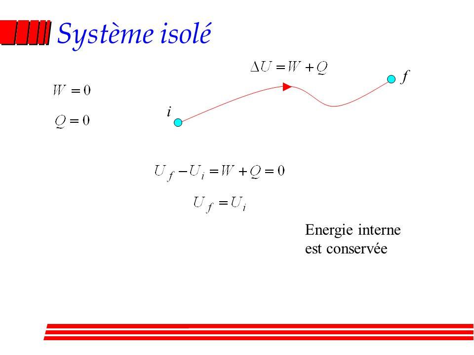 Système isolé i f Energie interne est conservée