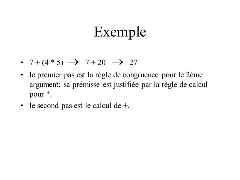 Exemple 7 + (4 * 5) 7 + 20 27 le premier pas est la règle de congruence pour le 2ème argument; sa prémisse est justifiée par la règle de calcul pour *