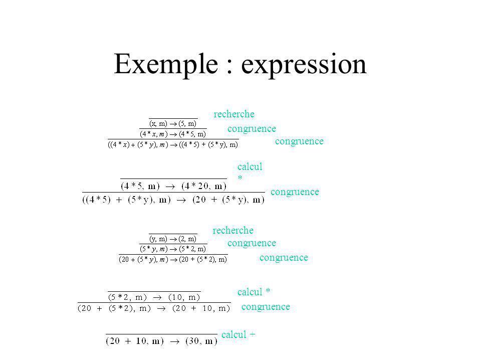 Exemple : expression congruence recherche congruence calcul * congruence recherche congruence calcul * congruence calcul + Donc lexpression sévalue à