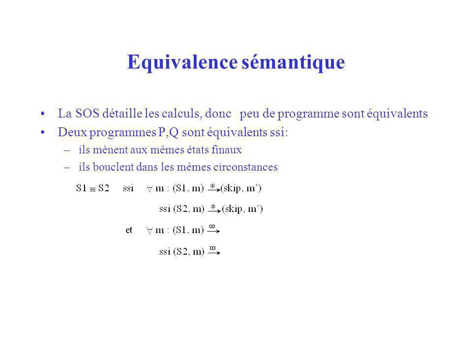 Equivalence sémantique La SOS détaille les calculs, donc peu de programme sont équivalents Deux programmes P,Q sont équivalents ssi: –ils mènent aux m