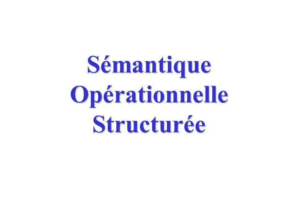 Sémantique opérationnelle Sémantique opérationnelle = on donne le sens du programme en donnant un ensemble dexécutions possibles.