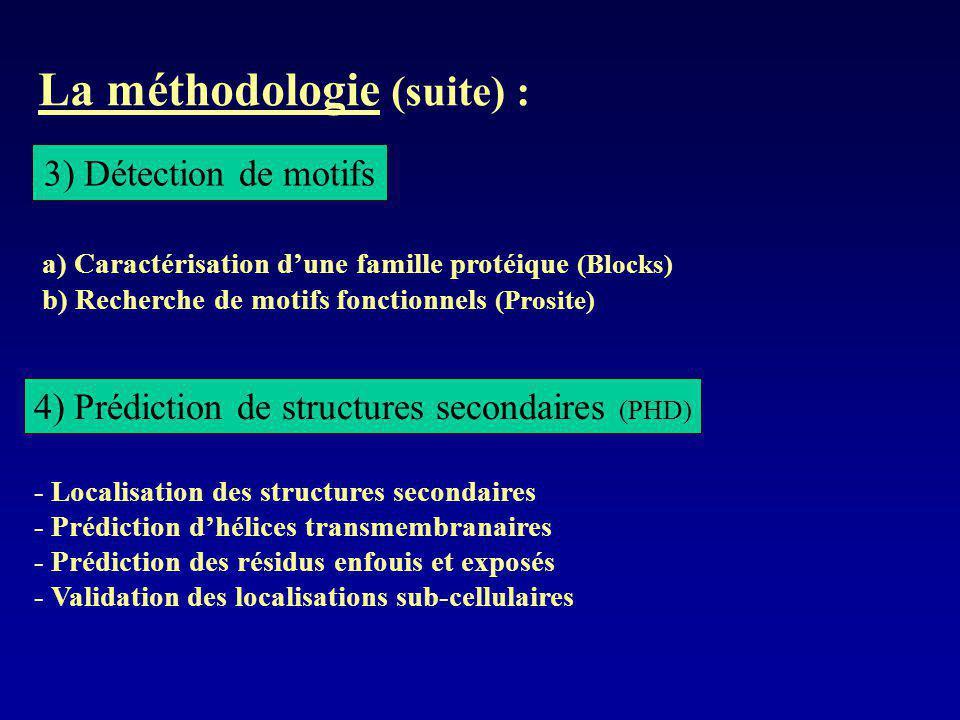 La méthodologie (suite) : 4) Prédiction de structures secondaires (PHD) - Localisation des structures secondaires - Prédiction dhélices transmembranai