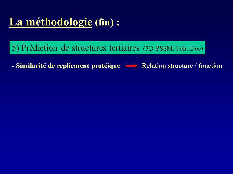 La méthodologie (fin) : 5) Prédiction de structures tertiaires (3D-PSSM, Ucla-Doe) - Similarité de repliement protéique Relation structure / fonction