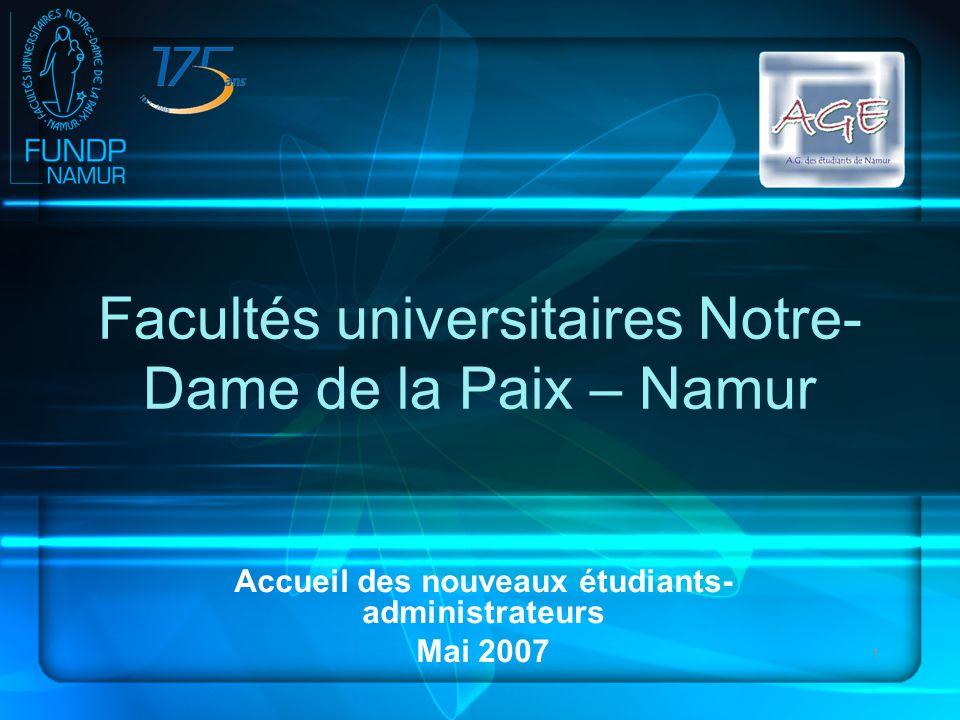 1 Facultés universitaires Notre- Dame de la Paix – Namur Accueil des nouveaux étudiants- administrateurs Mai 2007