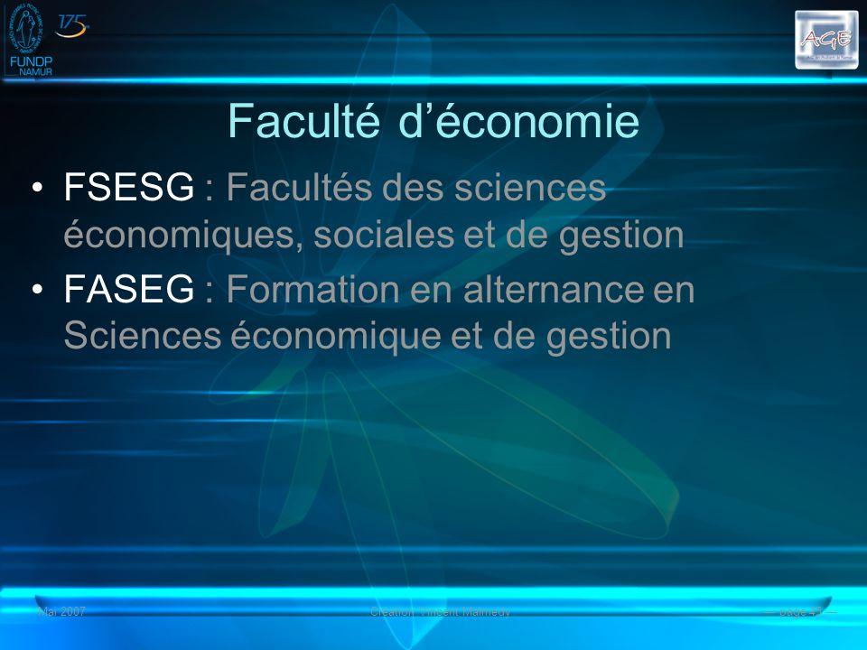 Mai 2007Création Vincent Malmedy page 45 Faculté déconomie FSESG : Facultés des sciences économiques, sociales et de gestion FASEG : Formation en alternance en Sciences économique et de gestion