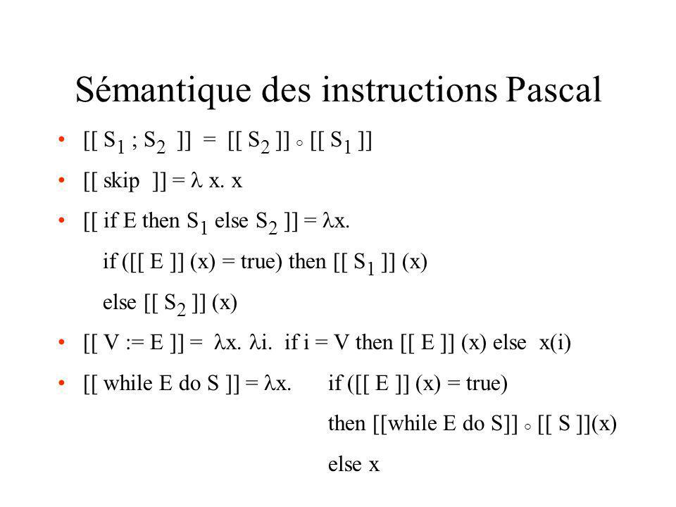 Sémantique des instructions Pascal [[ S 1 ; S 2 ]] = [[ S 2 ]] ° [[ S 1 ]] [[ skip ]] = x. x [[ if E then S 1 else S 2 ]] = x. if ([[ E ]] (x) = true)