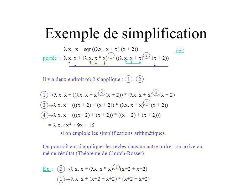 Exemple de simplification x.x + sqr (( x. x + x) (x + 2)) portée : x.