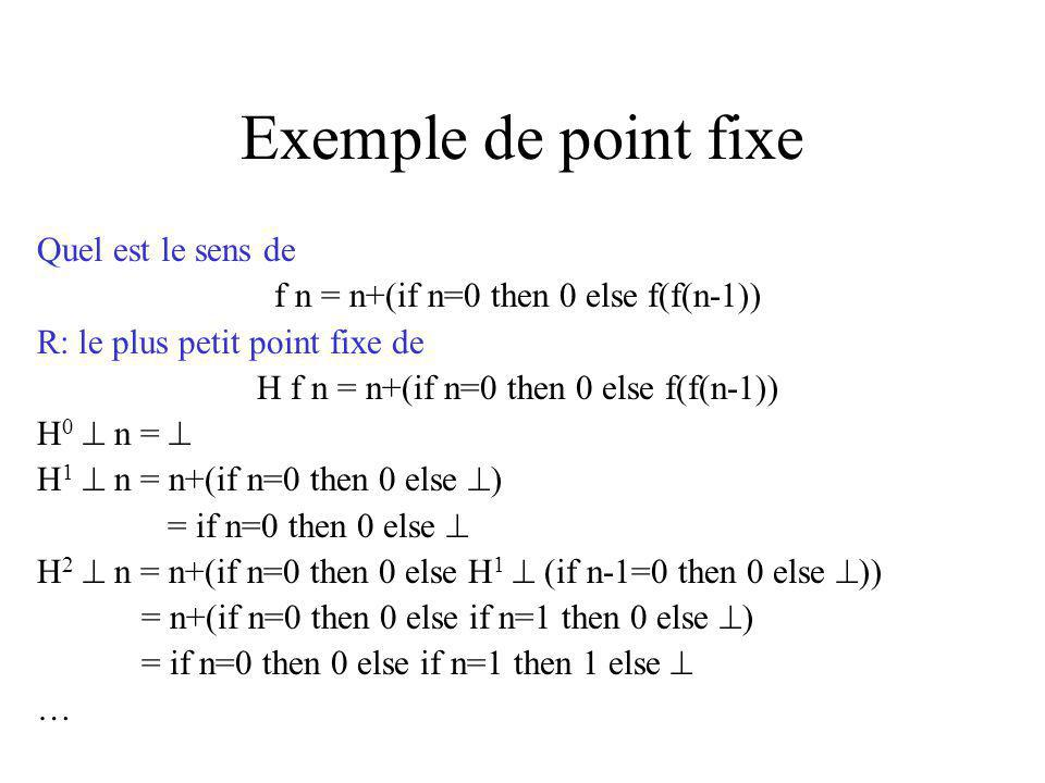 Exemple de point fixe Quel est le sens de f n = n+(if n=0 then 0 else f(f(n-1)) R: le plus petit point fixe de H f n = n+(if n=0 then 0 else f(f(n-1)) H 0 n = H 1 n = n+(if n=0 then 0 else ) = if n=0 then 0 else H 2 n = n+(if n=0 then 0 else H 1 (if n-1=0 then 0 else )) = n+(if n=0 then 0 else if n=1 then 0 else ) = if n=0 then 0 else if n=1 then 1 else …