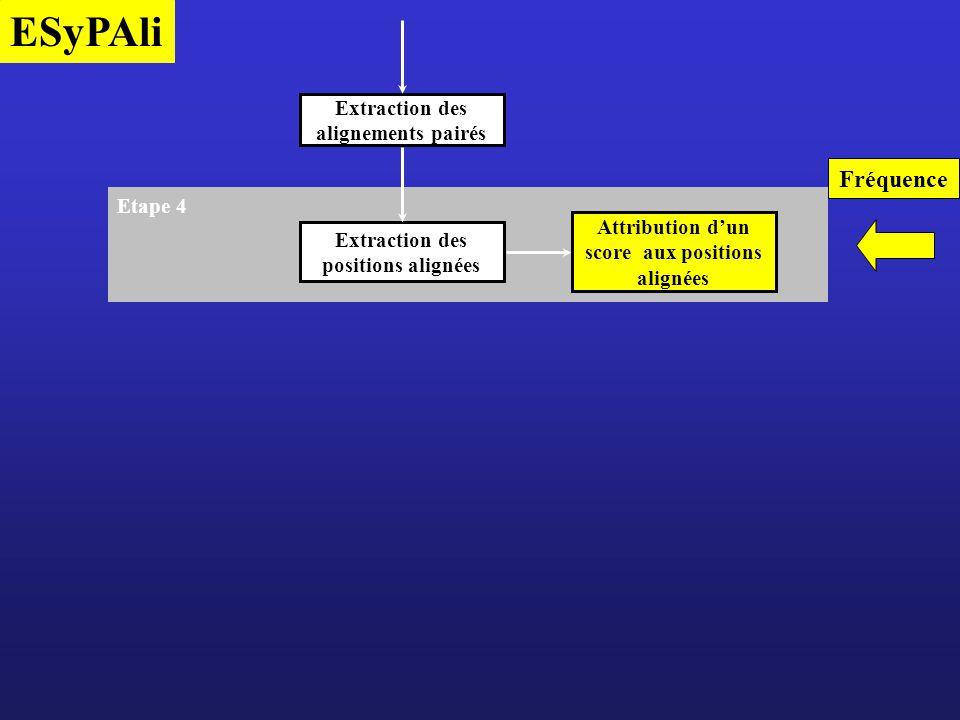 ESyPAli Etape 4 Attribution dun score aux positions alignées Extraction des positions alignées Fréquence