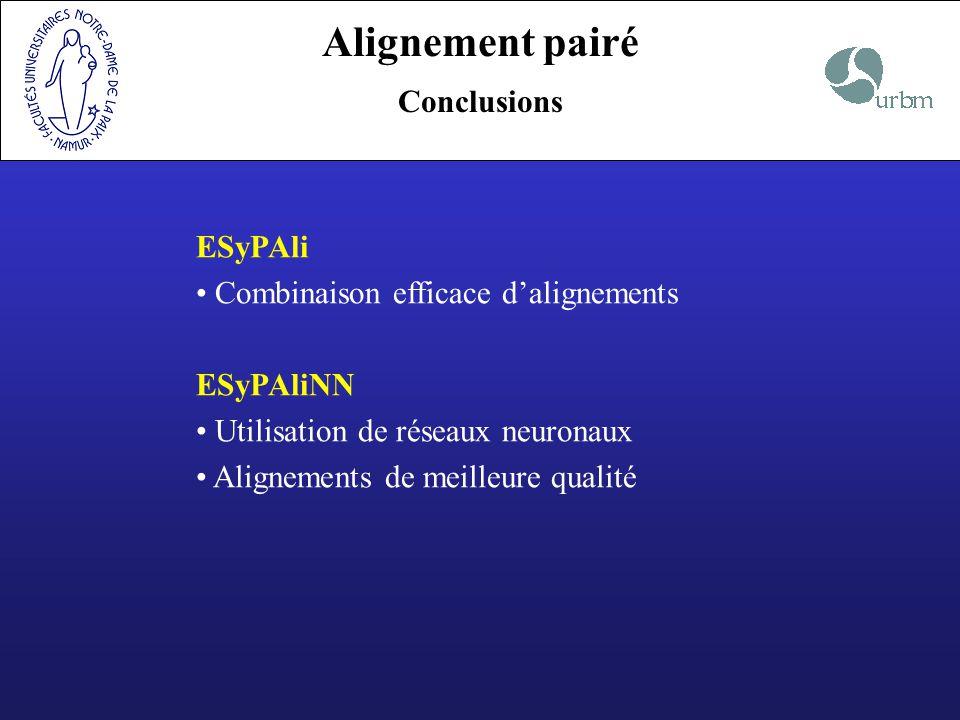 Alignement pairé Conclusions ESyPAli Combinaison efficace dalignements ESyPAliNN Utilisation de réseaux neuronaux Alignements de meilleure qualité