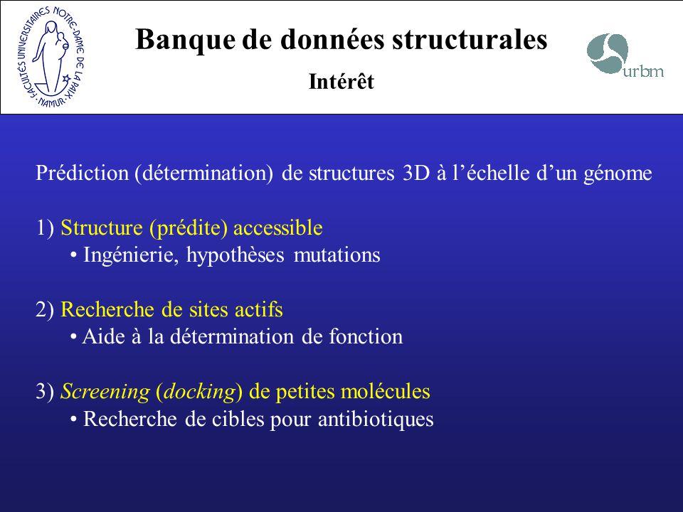 Prédiction (détermination) de structures 3D à léchelle dun génome 1) Structure (prédite) accessible Ingénierie, hypothèses mutations 2) Recherche de s