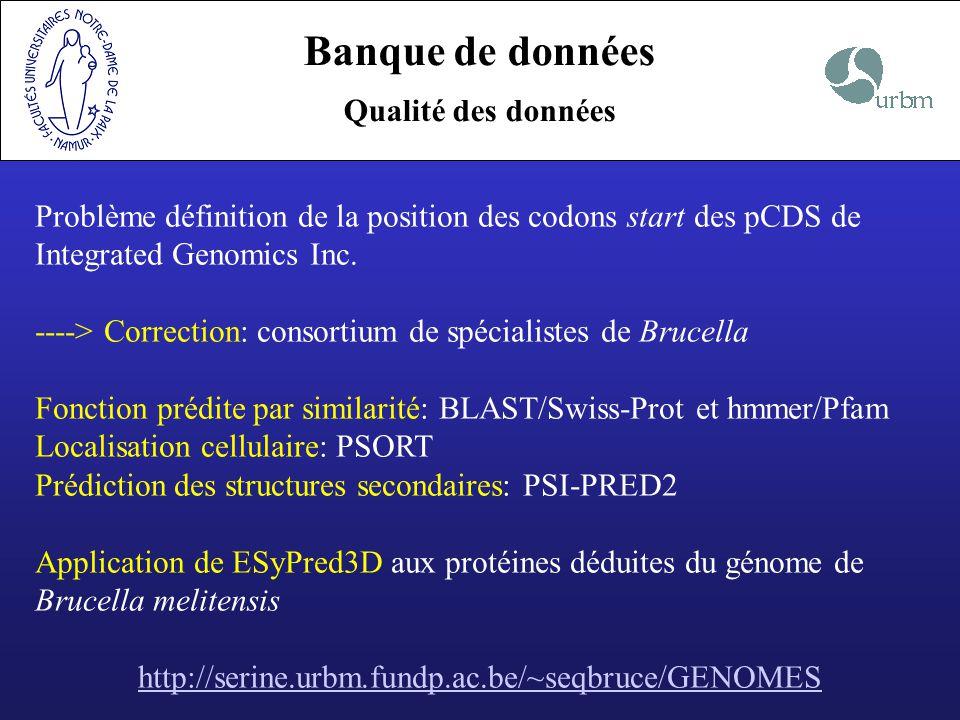 Banque de données Qualité des données Problème définition de la position des codons start des pCDS de Integrated Genomics Inc. ----> Correction: conso