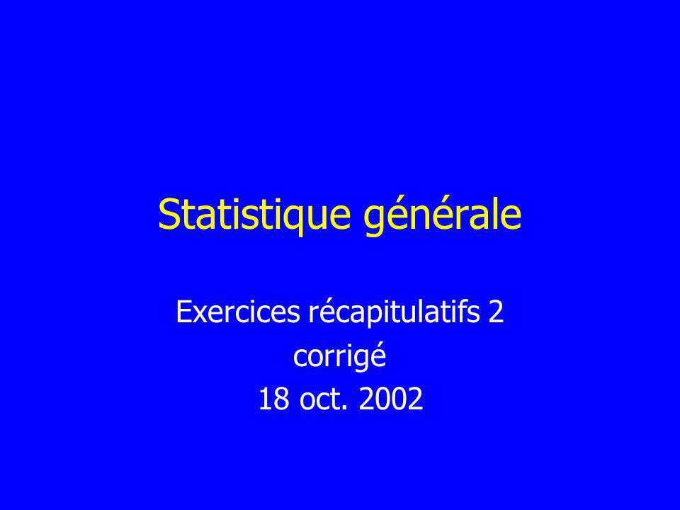 Statistique générale Exercices récapitulatifs 2 corrigé 18 oct. 2002