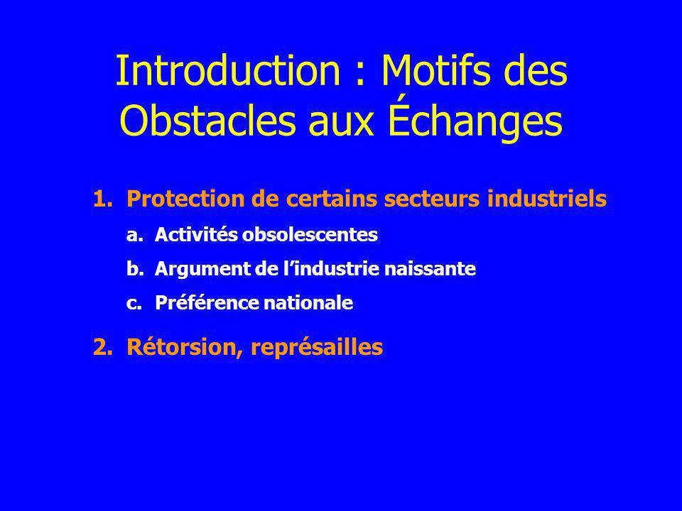 1.Protection de certains secteurs industriels a.Activités obsolescentes b.Argument de lindustrie naissante c.Préférence nationale 2.Rétorsion, représa