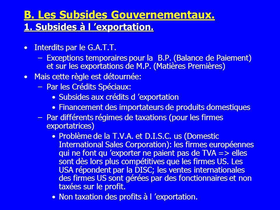 Interdits par le G.A.T.T. –Exceptions temporaires pour la B.P. (Balance de Paiement) et sur les exportations de M.P. (Matières Premières) Mais cette r