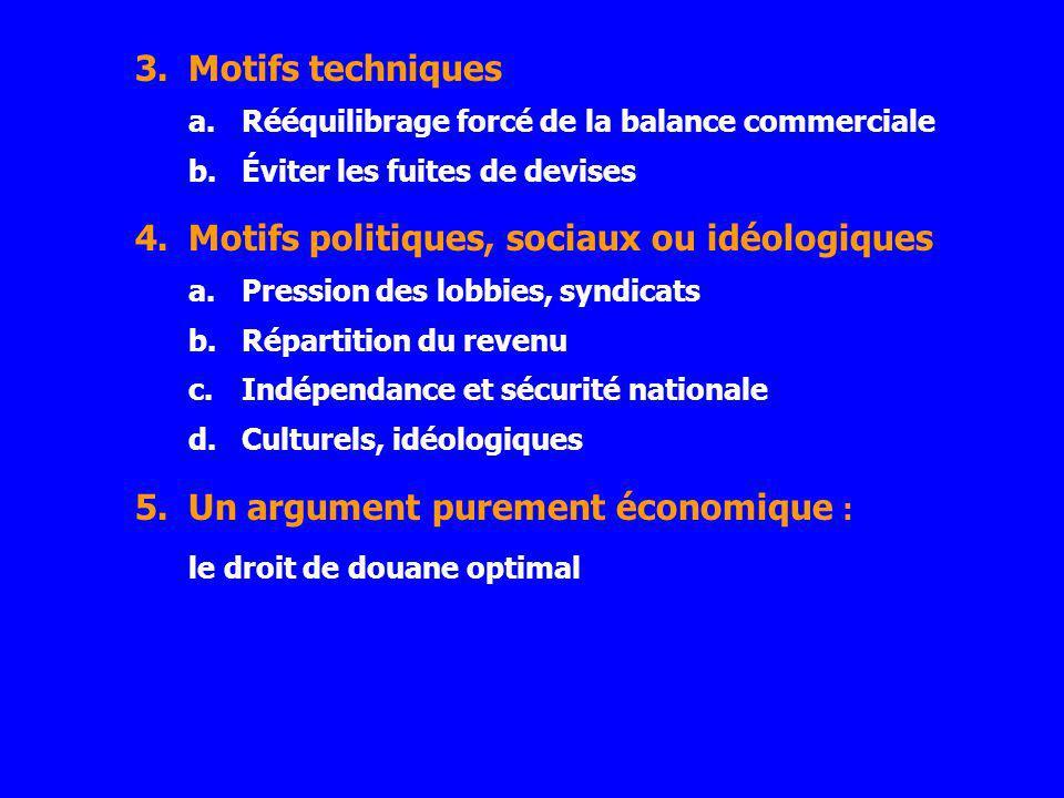 3.Motifs techniques a.Rééquilibrage forcé de la balance commerciale b.Éviter les fuites de devises 4.Motifs politiques, sociaux ou idéologiques a.Pres