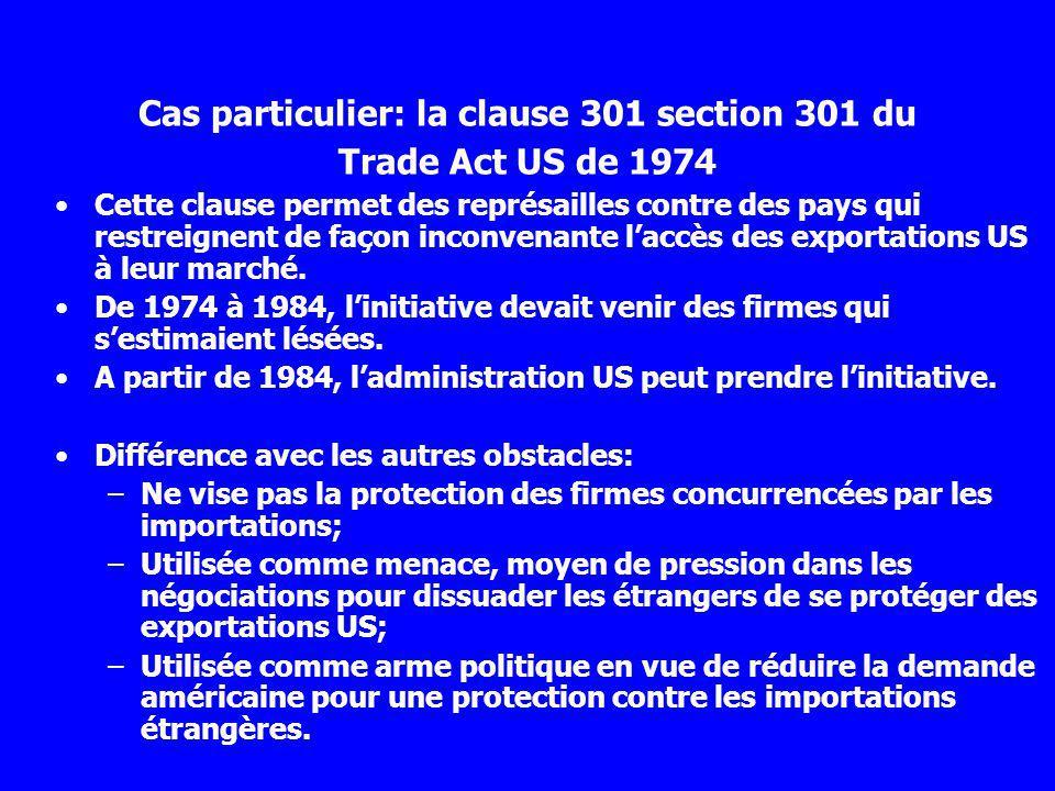 Cette clause permet des représailles contre des pays qui restreignent de façon inconvenante laccès des exportations US à leur marché. De 1974 à 1984,