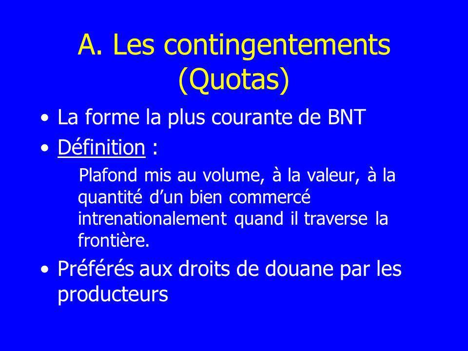 A. Les contingentements (Quotas) La forme la plus courante de BNT Définition : Plafond mis au volume, à la valeur, à la quantité dun bien commercé int