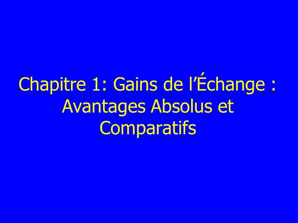 Chapitre 1: Gains de lÉchange : Avantages Absolus et Comparatifs