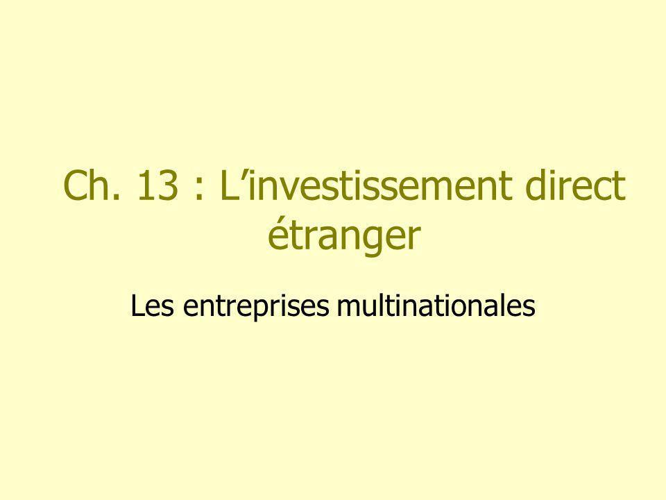 Ch. 13 : Linvestissement direct étranger Les entreprises multinationales