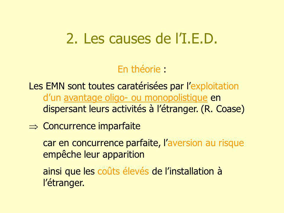 2. Les causes de lI.E.D.