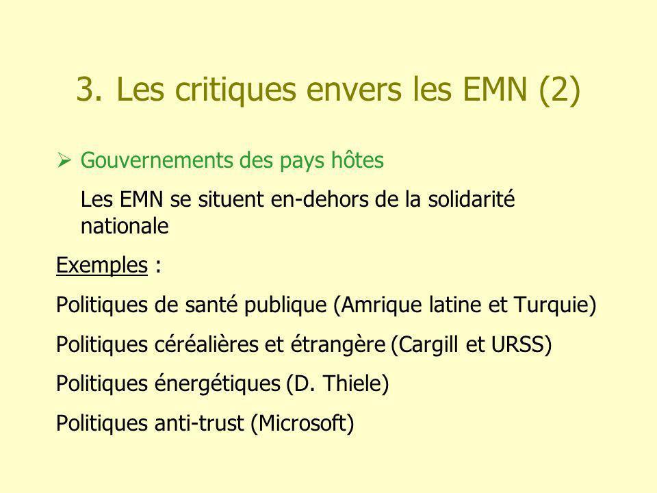 3. Les critiques envers les EMN (2) Gouvernements des pays hôtes Les EMN se situent en-dehors de la solidarité nationale Exemples : Politiques de sant