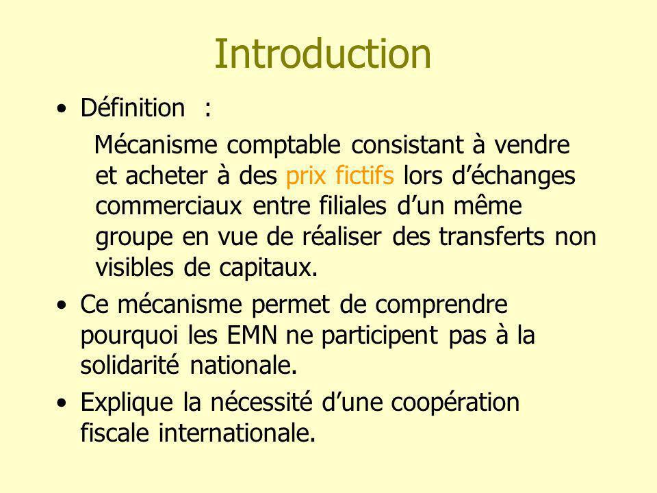 Introduction Définition : Mécanisme comptable consistant à vendre et acheter à des prix fictifs lors déchanges commerciaux entre filiales dun même groupe en vue de réaliser des transferts non visibles de capitaux.