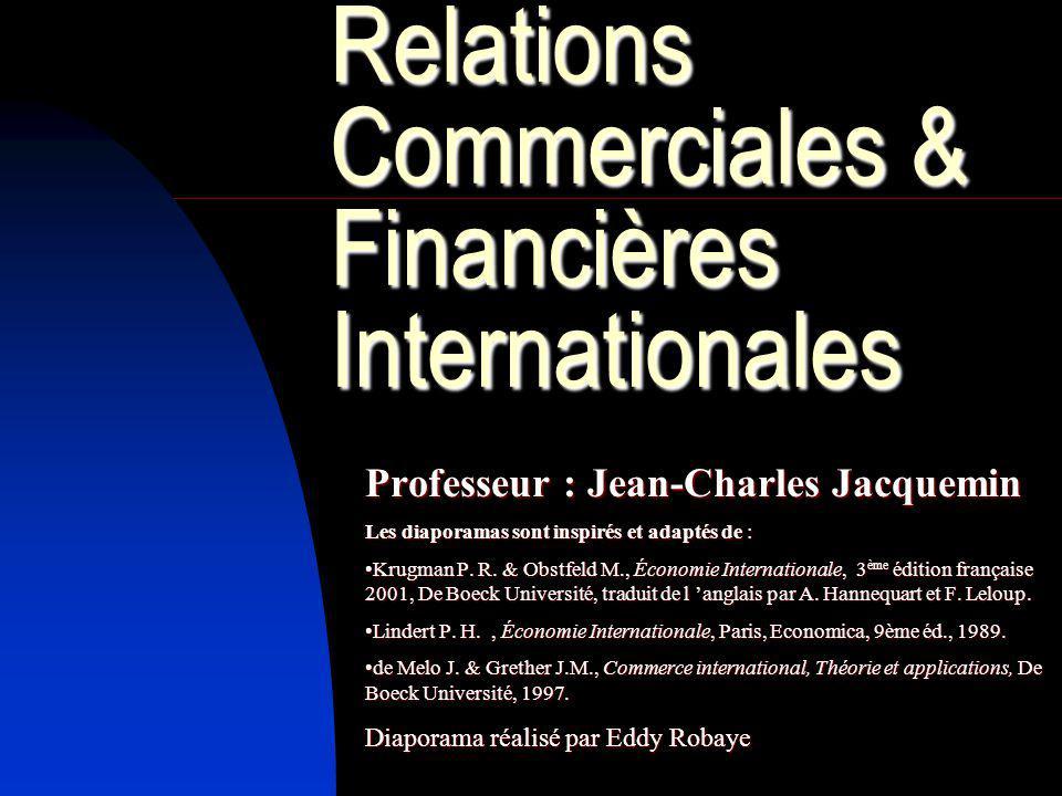 Relations Commerciales & Financières Internationales Professeur : Jean-Charles Jacquemin Les diaporamas sont inspirés et adaptés de : Krugman P. R. &