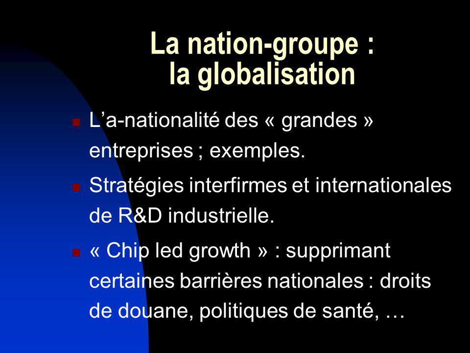 La nation-groupe : la globalisation La-nationalité des « grandes » entreprises ; exemples. Stratégies interfirmes et internationales de R&D industriel